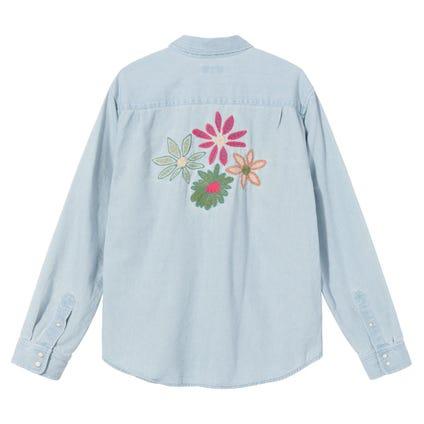 FLOWER EMB. DENIM LS SHIRT