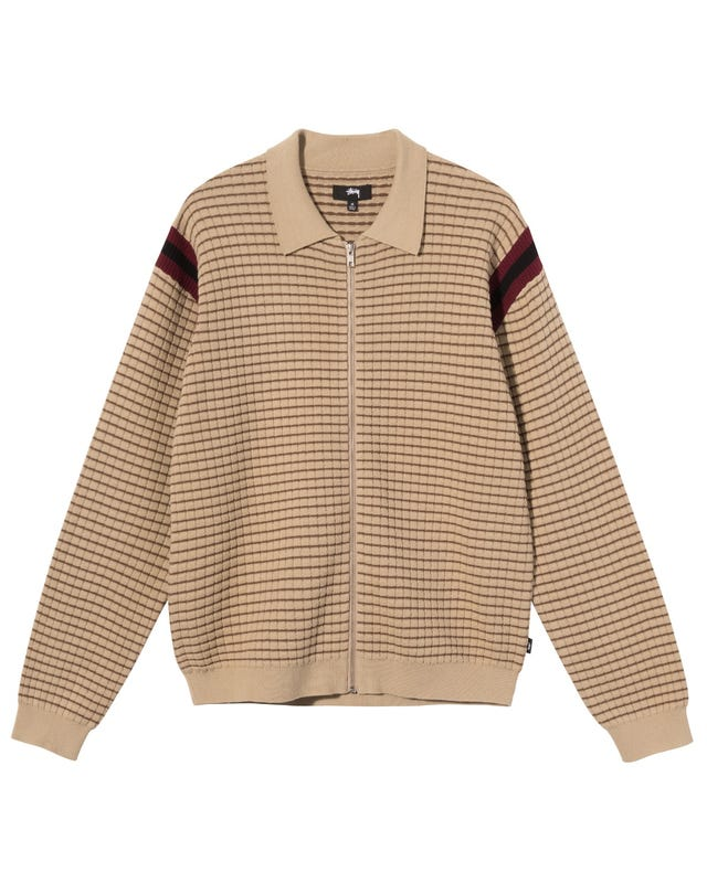 WAFFLE KNIT LS ZIP POLO