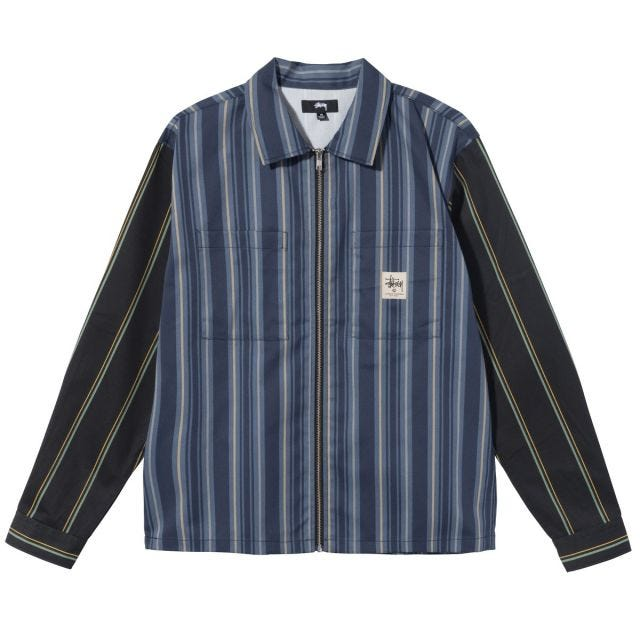 MIX STRIPE ZIP UP WORK LS