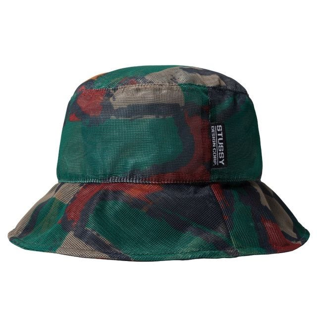 BLOCK PRINT MESH BUCKET HAT