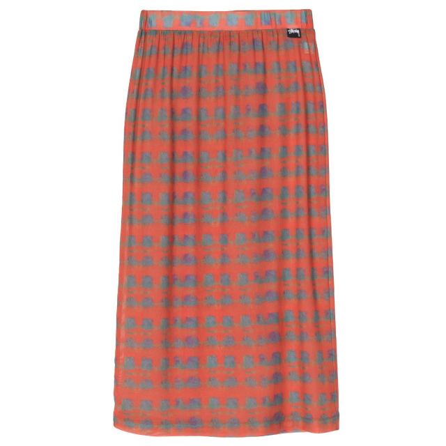 W' PRINTED PLAID MESH TUBE SKIRT