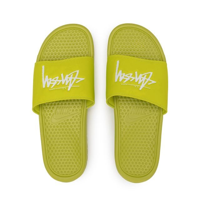 Stussy x Nike Benassi - Bright Cactus/White